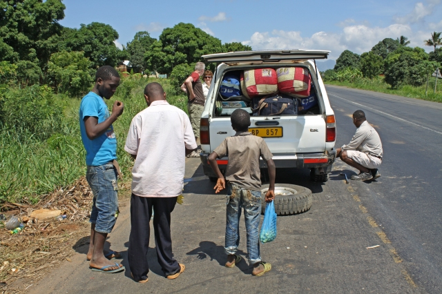 Flat tyre on Dar to Morogoro Highway