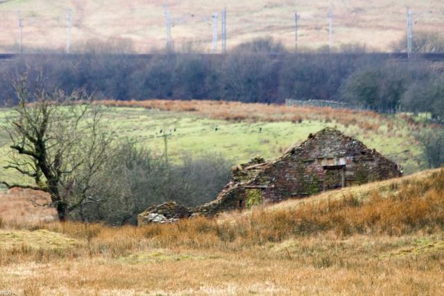 Derelict house vs M6 & Westcoast Mainline Tebay 26 Feb 2016 (1 of 1)